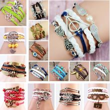 New Fashion Jewelry Vintage red leather bracelets for women Multilayer Braided Leather Cord Charms Bracelets  Owl,Bicycle,LOVE(China (Mainland))