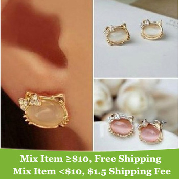 New Arrival  Fashion  Elegant Korean  rhinestone bow Opal cute cat earrings jewelry for women 2014 M11