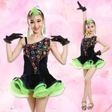 2016 Latest Fashion Colorful Thread Net Floral Latin Dress Gorgeous Rhinestone Dance Wear with Tassel Earrings Gloves Headwear(China (Mainland))