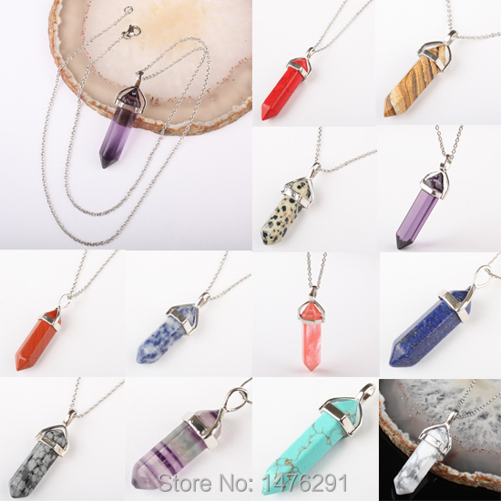 """NEW Silve Plated Chain Crystal Quartz Healing Point Chakra Faceted Gem Bead Stone Pendant for Necklace 18""""L free shipping(China (Mainland))"""