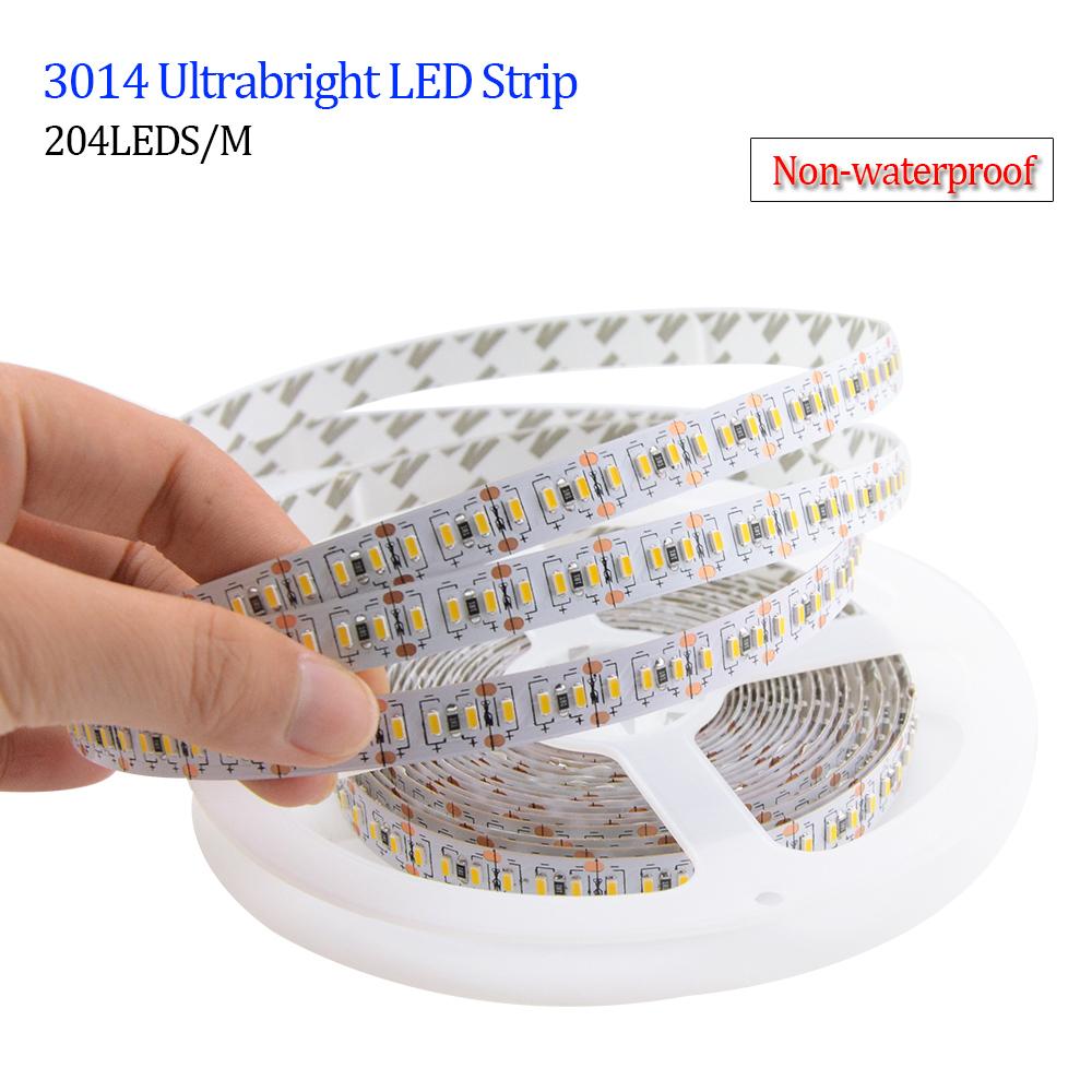 LED Light Strip Super Bright 3014 Led Strips 204LEDs/m 5M/lot 12V ip20 ip65 waterproof Light-emitting Diode Tape Lamp Lighting(China (Mainland))