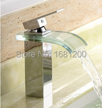 Buy Free 2015 New design Deck Mount Bathroom Glass Basin Sink Mixer Tap Chrome Faucet Waterfall Faucet torneira 1152 for $59.00 in AliExpress store