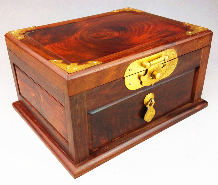 Wooden House plain red wood jewelry box red ornaments carved wooden furniture cents dressing jewelry box for gifts(China (Mainland))