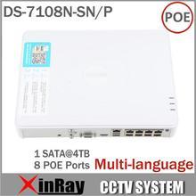 Promoción grande más nueva Multi-language DS-7108N-SN / P Plug & Play 8CH PoE NVR para HD cámara IP con 8 PoE independiente(China (Mainland))