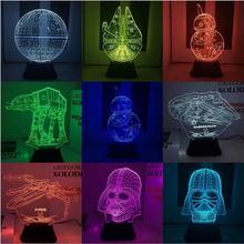 Star Wars 7 funk pop BB8 droid 3D Mini Bulding Night Light Toy 7colors change visual illusion LED lamp Darth Vader Best Price(China (Mainland))