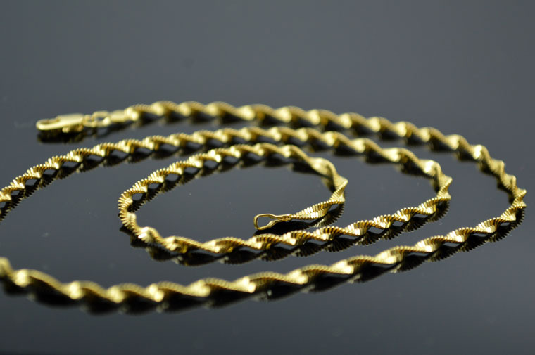 Ethiopian jewelry necklace 18K Solid Yellow Gold Filled/Plated Female Chain Long Necklace Jewelry(China (Mainland))