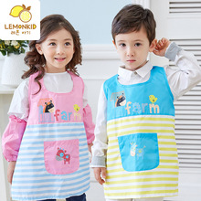 3-12 Years Kids Children Waterproof painted outerwear Cartoon Cooking Apron Long Sleeve Drawing Painting Apron for kindergarten