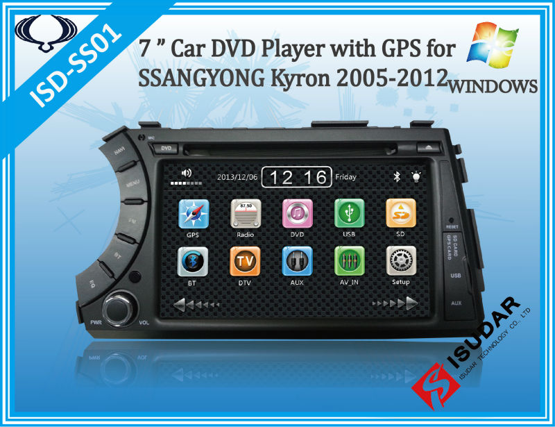 produto Free Shipping Two Din 7 Inch Car DVD Player For SSANGYONG Kyron 2005 Korand Actyon With 3G GPS Navigation BT IPOD TV FM Free Map
