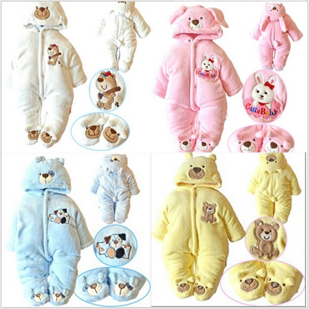 ZG096 Free shipping,2015 New style baby rompers Cartoon boy girls thick jumpsuit Warm Winter infant garment Wholesale and Retail