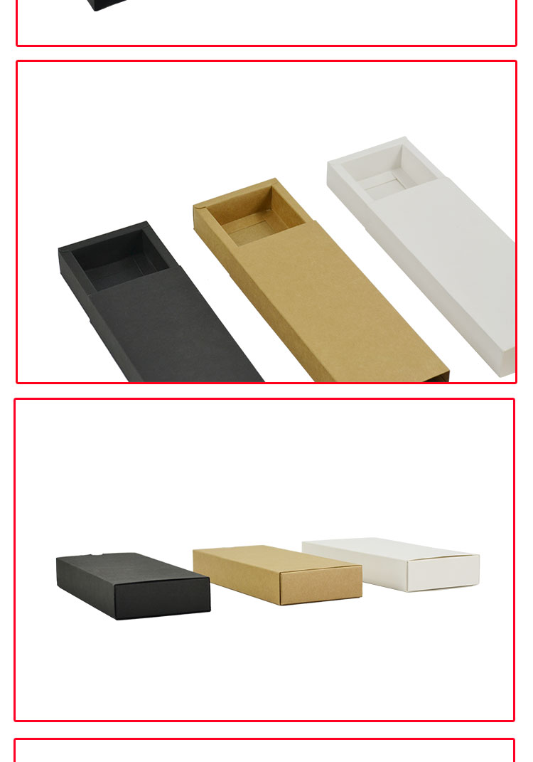 10pcs/lot 25x10x3.5cm Black Slide Open Gift Box Kraft Paper Box Packaging  Carton Cookie Food Packing Box Clothing Emballage   Us464