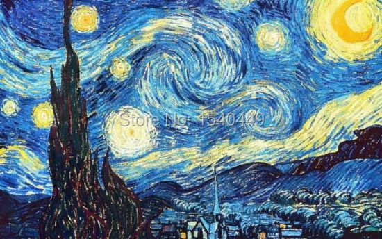 sternennacht vincent van gogh handgemachte ber hmte gem lde reproduktionen abstrakte malerei. Black Bedroom Furniture Sets. Home Design Ideas