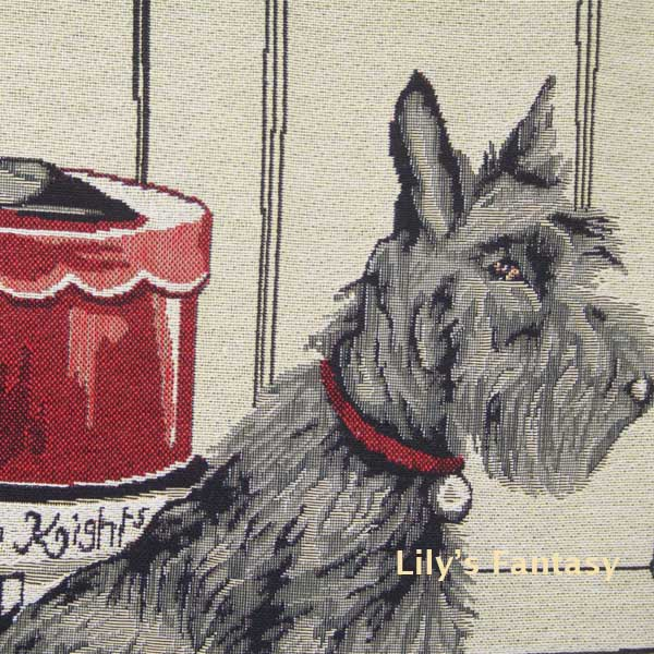Retro Vintage Scottish Terrier Dog Pet Shoe Box Home Decorative Thick Knitted Cotton Linen Pillow Case