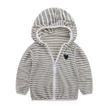 מעיל תינוק בנות בני בגדי מעיל ארוך שרוול פסים תינוק מעילי אביב סתיו(China)