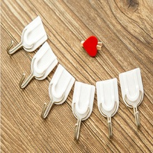 6 PCS Nice White Family Wall Hanger Strong Sticky Hats Bag Key Adhesive Plastic Hook MAX 1.5Kg(China (Mainland))
