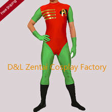 """Free Shipping DHL Amazing Robin """"A"""" Mark Red and Green Lycra Zentai Men's Cosplay Costume RB1309"""
