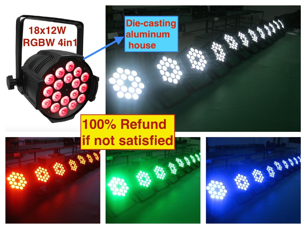 8pcs lot LED par 18x12W RGBW 4in1 Quad Light Die Casting Aluminum party led spotlight dj