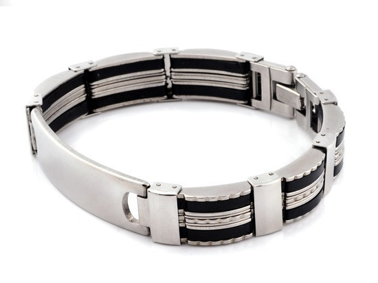 New-Men-s-High-Quality-Stainless-Steel-Bracelet-Silver-Link-Black-Rubber-Bangle (10)