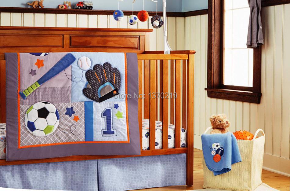 New embroidered base ball sports boy baby cot crib bedding set 5 items