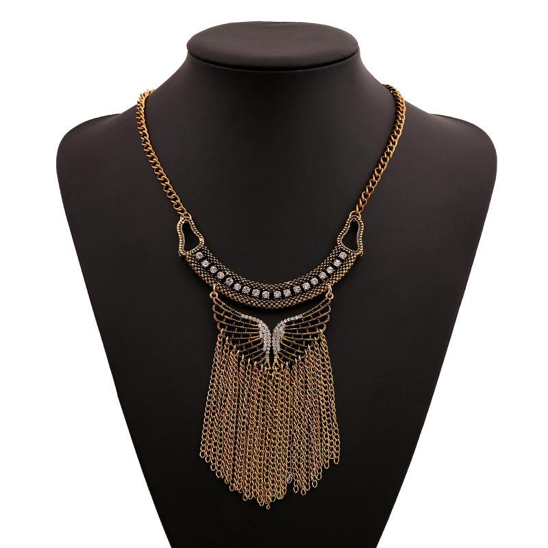 New Vintage Necklaces & Pendants Short tassel Rhinestone Butterfly Gold Chain Collares fine jewelry female bijouterie bijoux(China (Mainland))