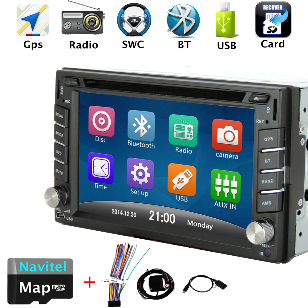 2 din car dvd gps navigator 6.2 inches HD Bluetooth Hands-free Steering wheel control Support rearview camera(China (Mainland))