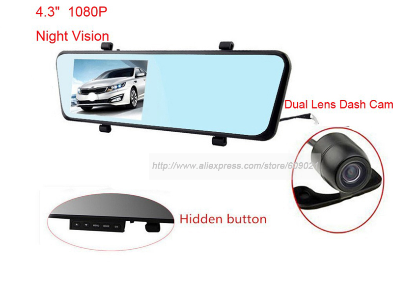 Full HD Car Rear View Mirror Video Recorder Dual Camera Filmadora Dvr Two Cameras Parking Registrator For Mazda Honda Toyota(China (Mainland))
