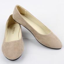 2016 Flock Ladies Shoes Plain Ballet Shoes Spring Fall Women Round Toe Casual Flats Shoes Slip On Female Soft  Shoes Plus Size