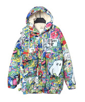 Women's Parkas Hooded Print Over Size Casual Europe-American Fashion Winter 2015 New Q6584-1