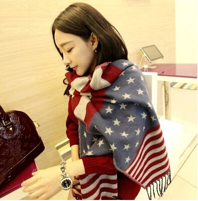 Manufacturers selling Europe Star flag super major suit cashmere scarf wholesale warm shawl(China (Mainland))