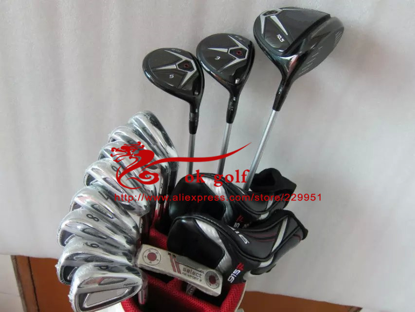 Golf Complete Set 915 D2/D3 Driver + 915F Fairway Woods + AP Irons 2 Clubs 714 With R300 + Newport 2 Putter In 34INCH (NO bag)(China (Mainland))