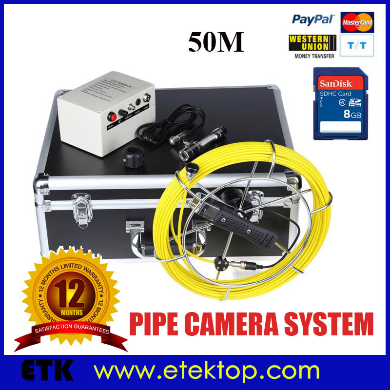 Drain Sewer Wall Cave Pipe Inspection Camera DVR Recording Pipe Endoscope Borescope 50m Cable,Pipeline Sewage Snake Camera(China (Mainland))