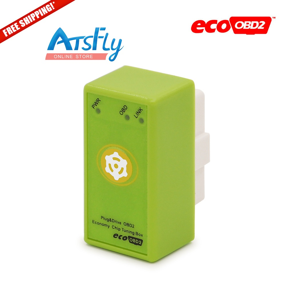 Hot EcoOBD2 Benzine Car Chip Tuning Box With reset button Plug and Drive OBD2 petrol gasoline Lower Fuel and Lower Emission(China (Mainland))