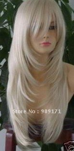 Гаджет  free Shipping*2011 new Healthy long white human made hair full wigs None Волосы и аксессуары