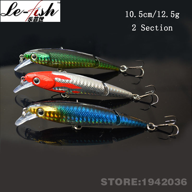 2Section Minnow Fishing Lure Hard Artificial Bait 10.5cm/12.5g Spinning Long Tongue Treble Hook - China Le-Fish Outdoor Co.,Ltd Store store