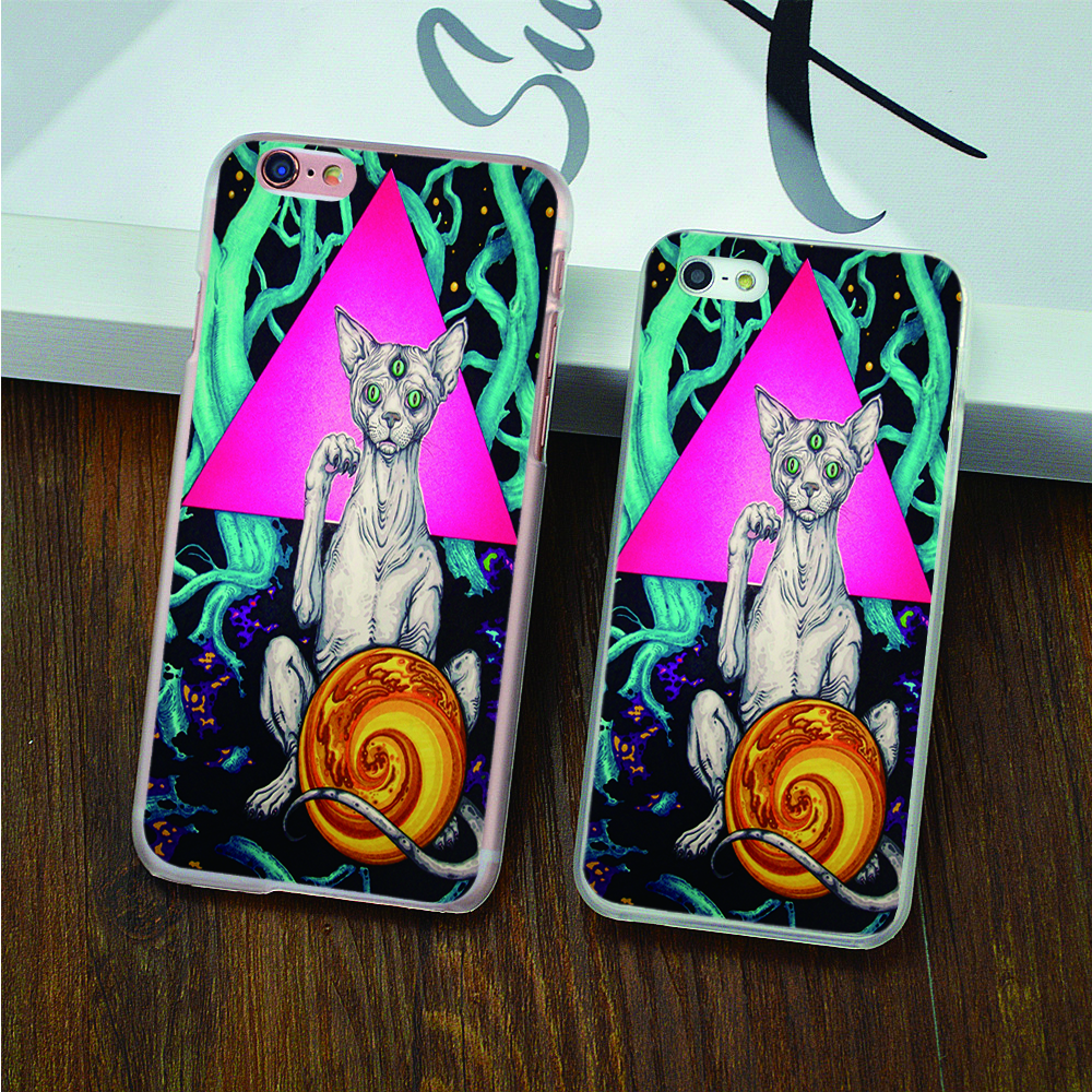 Powerful code three cats Design case cover cell phone cases for iphone 4 4s 5 5c 5s SE 6 6s 6plus 7 7plus hard shell(China (Mainland))
