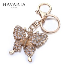 HAVARIA High quality Rhinestone Butterfly Jewelry keychain women key holder chain ring car llaveros bag pendant Charm bbk-001