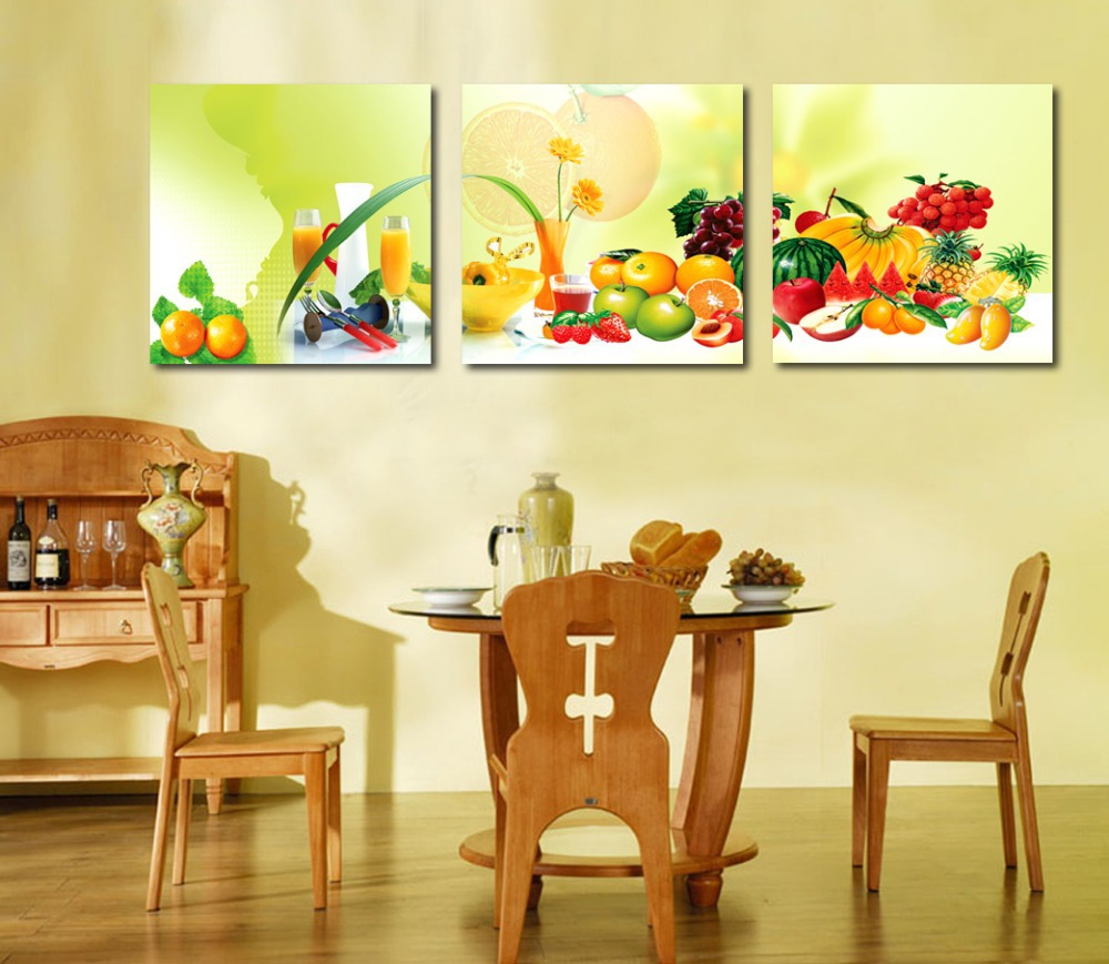 3 piece canvas art home decoration wall art painting fruit for Dining room wall art canvas
