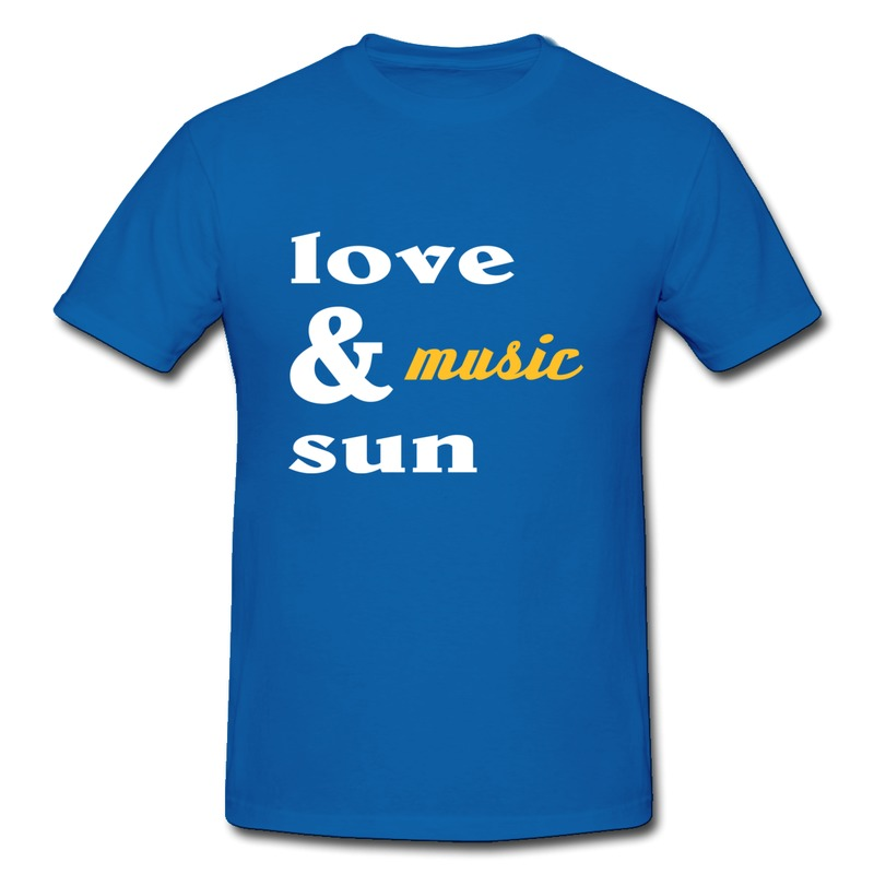 Tee Shirt Men's Pre-Cotton love music and sun Make Own Slim Fitted Shirts for Mens(China (Mainland))