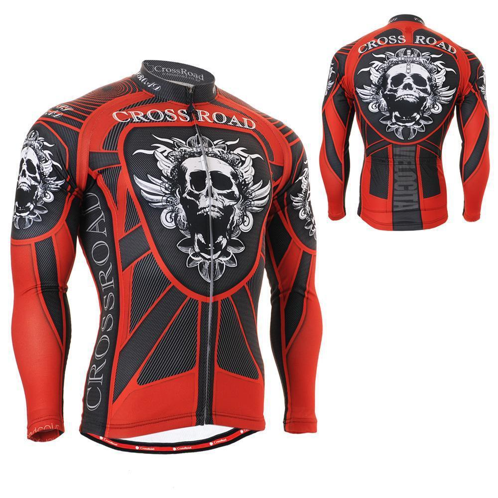 SKULL ARMOR Full Graphic Men`s Long Sleeve Cycling Jersey Useful 3 Rear-pockets Quick Dry Outdoor MTB Road Bike Bicycle Clothing(China (Mainland))