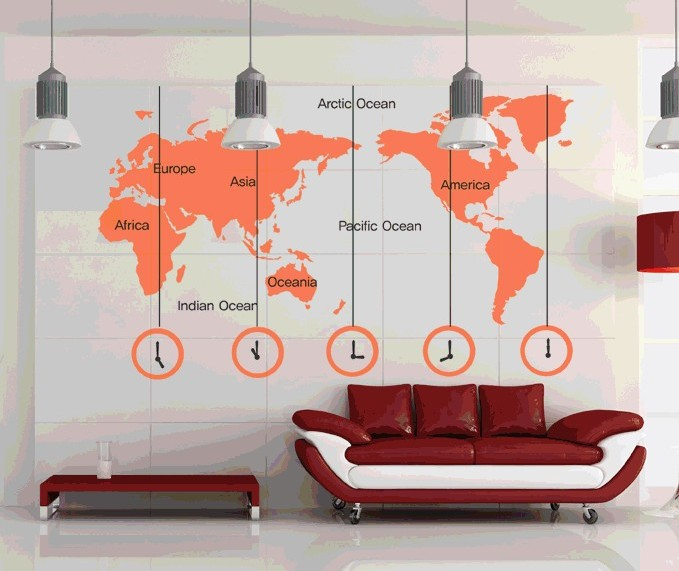 World Map Clock Wall Stickers Removable DIY Decal Living Room Bedroom Wallpaper Office Home Art Mural Poster Multi Color(China (Mainland))