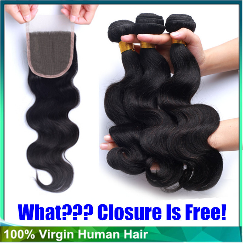 Free Brazilian Virgin Hair Closure With Bundle Body Wave Brazilian Virgin Hair With Closure 4*4 Body Wave 3 Bundles With Closure