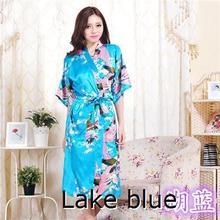 RB015 Satin Robes for Brides Wedding Robe Sleepwear Silk Pijama Casual Bathrobe Animal Rayon Long Nightgown Women Kimono XXXL(China (Mainland))