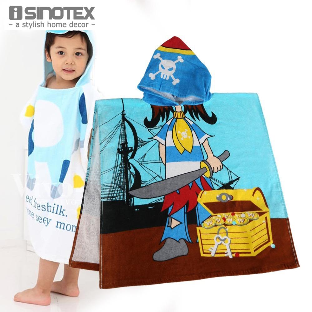 Hooded Towels 60x120cm Hoodie 100% Cotton Cartoon Pattern Children's Bath Beach Towel Animal Cloak For Kids toalha de banho(China (Mainland))