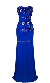 Strapless Blue Sequins Triangle Tiered Waist Mesh Long Evening Dress Blue A-044BE