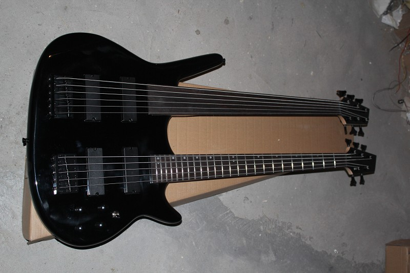 1974 Double Neck Guitar, Black finish ,rare beautiful guitar(China (Mainland))