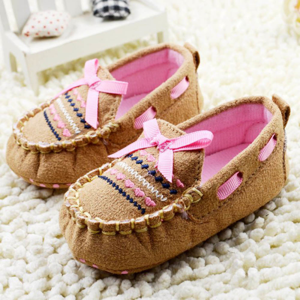 Brown Baby First Walk Shoes Soft Newborn Cotton Bow-knot Shoes Free Shipping YRD