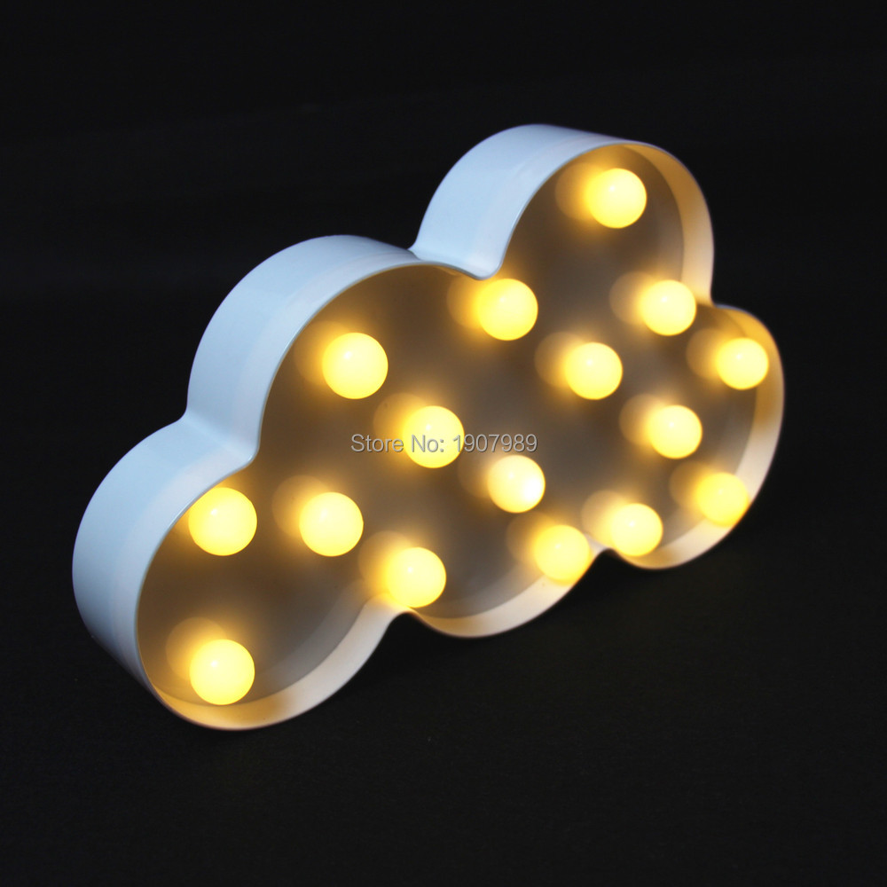 Plastic White Cloud LED Marquee Sign LIGHT UP night light wall lamps Indoor Deration(China (Mainland))