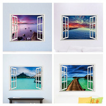 beautiful sky tropical ocean 3D window view blue sea home decor wall sticker creative scenery living room office decals stickers(China (Mainland))