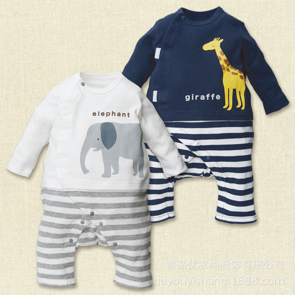 New 2014 Autumn baby boys Cartoon animal long Sleeve rompers Infant boys Stripe romper Jumpsuit bebe outwear 2 colors(China (Mainland))