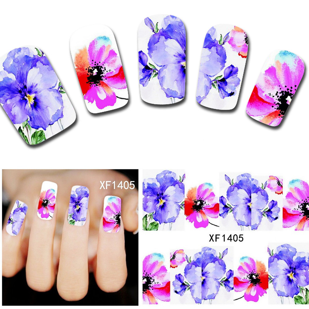 1sheets XF1405 Fashion Hot Designs Fancy Beauty Nail Art Stickers Decals Water Transfer Full Cover Wraps DIY Tools(China (Mainland))