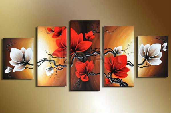 Handpainted Wall Art Modern Abstract White Red Flower
